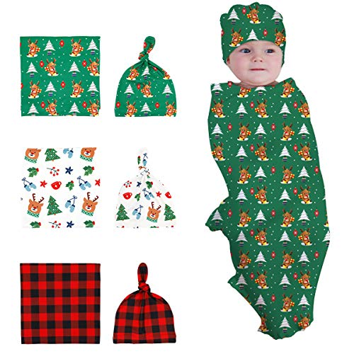 Newborn Baby Swaddle Set- 3 Pack Swaddling Receiving Blanket with Beanie - Baby Shower Newborn Gift (Christmas)