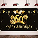 Happy 60th Birthday Background Banner, Extra Large (3.6 ft x 6 ft) Fabric Sign Poster for 60th Birthday Party, 60th Birthday Photo Booth Backdrop Banner, 60th Birthday Party Decorations Supplies