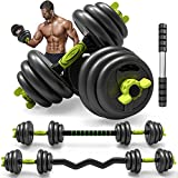 Adjustable Weight Dumbbells Set 5/10/15/20/44 lbs to 66 lbs 4-in-1 Fitness Dumbbell Pairs for Adult Gym Workout Strength Training with Connecting Rod Used as Barbell, Ab Roller (66)