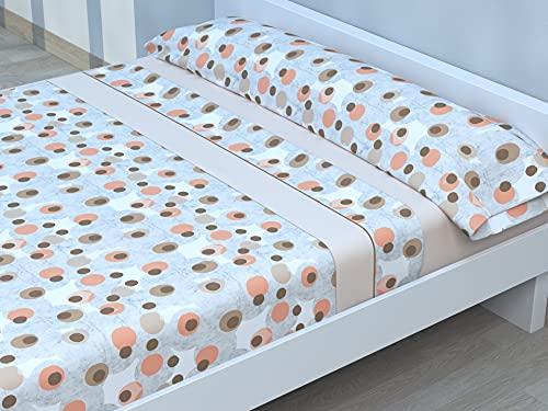 Juego de sábanas Estampadas de Microfibra Transpirable Mod. SAMJA (Disponible en Varios tamaños y Colores) (Beige, Cama de 135 cm (135_x_190/200 cm))