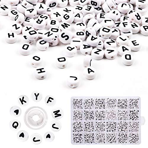 Anyasen abalorios letras 1200pcs Redondas Cuentas Alfabeto Redondas de plástico acrílico Letras con 8M cordón elástico para Pulseras DIY Manualidades Hacer Pulseras y Joyas A a Z y Love Corazón 7x4mm