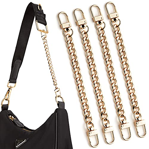 CITYWAY Mini Purse Chain, DIY Metal Flat Chain- for Messenger Bag Purse Strap Extender Handbag Accessory Decoration, with Metal Buckle (7.9 Inch-4 pcs, Gold)