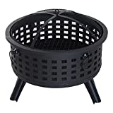 Outsunny 26' Steel Round Firepit Patio Heater Patio Outdoor with Cover