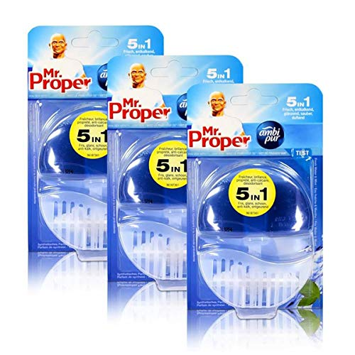 3x Mr.Proper Starterset Ambi Pur 5in1 Fresh Water & Mint WC-Stein flüssig mit Halterung