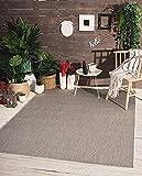 the carpet Mistra In- & Outdoor Teppich Flachgewebe, Modernes Design, Trendige Farben, Superflach, UV- und Witterungsbeständig, Grau, 200 x 280 cm