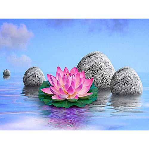 Kits de arte de diamante para adultos Lotus y piedra diamante pintura por número Kits completo redondo taladro cristal Rhinestone vista natural regalo para el hogar pared decoración 40 × 50 cm
