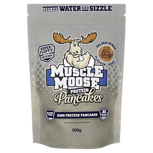 Muscle Moose – High Protein Pancake Mix | Perfect Breakfast or Snack, Easy to Make, Fluffy, 500g (20 pancakes per bag) (Golden Syrup)
