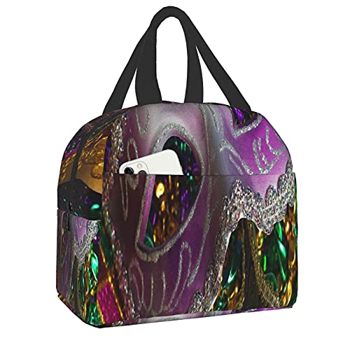 Bolsa del almuerzo Mardi Gras Masks Lunch Bag Insulated Leakproof Reusable Lunch Box for Men Women, Soft Thermal Bento Cooler Bag Tote for Travel Work School Picnic Hiking Beach