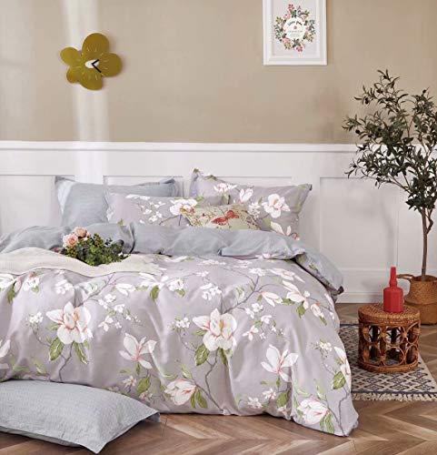 Conjunto de roupa de cama Swanson Beddings Magnolia reversível floral 3 peças 100% algodão: capa de edredom e duas fronhas (King)