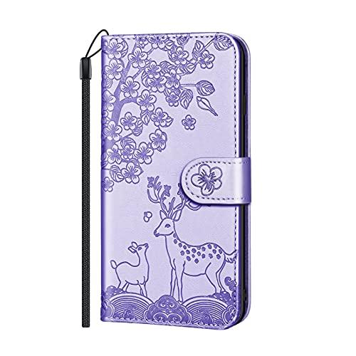 Funda para teléfono Samsung Galaxy A40, suave de piel sintética, con tapa y tarjetero, para mujer y niña, con cierre de ciervo bajo el ciruelo, color morado