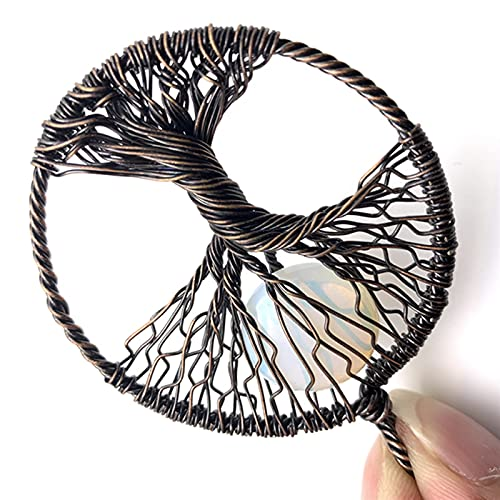 DGDH Life Tree Pendant Necklace, Natural Crystal Stone Men's And Women's Life Tree Pendant Jewelry DIY Necklace Bracelet Earrings Jewelry (Metal color : 04)