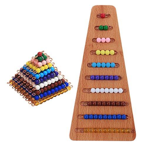 PETSOLA 2 Set De Perlas De Colores Escaleras De Juguete Calcular Desarrollar Material Montessori De Madera