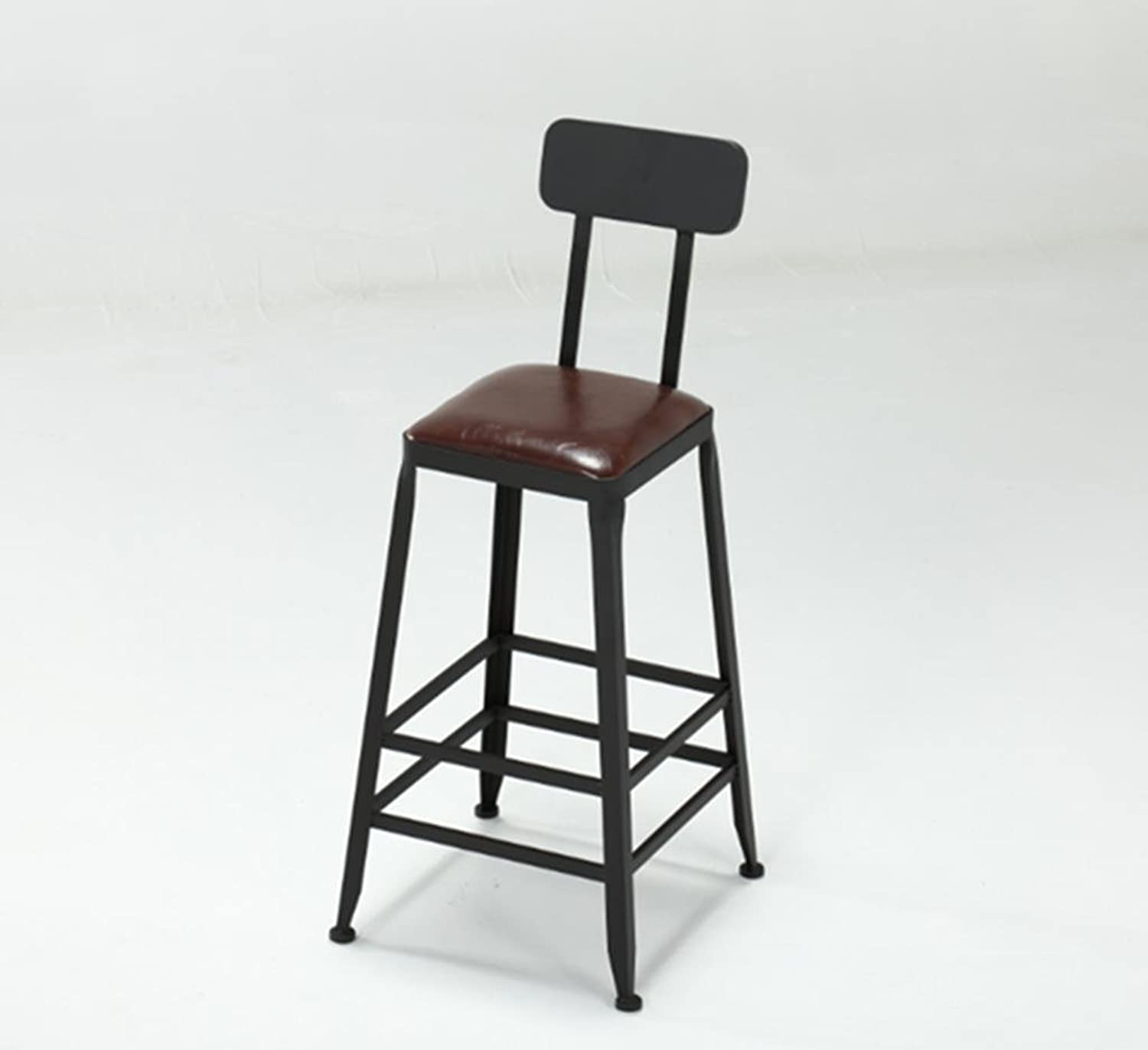 Retro Kitchen stools with Metal Legs High Stool Bar Stools Leather Seat Breakfast Bar, Height 45cm&65cm&75cm for Kitchen Counter Bar, 2, E,Simple