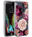LG K10 Case, LG Premier LTE L62VL L61AL Case with Flowers, BAISRKE Slim Shockproof Clear Floral Pattern Soft Flexible TPU Back Cove for LG K10 MS428 K428SG [Purple Pink]