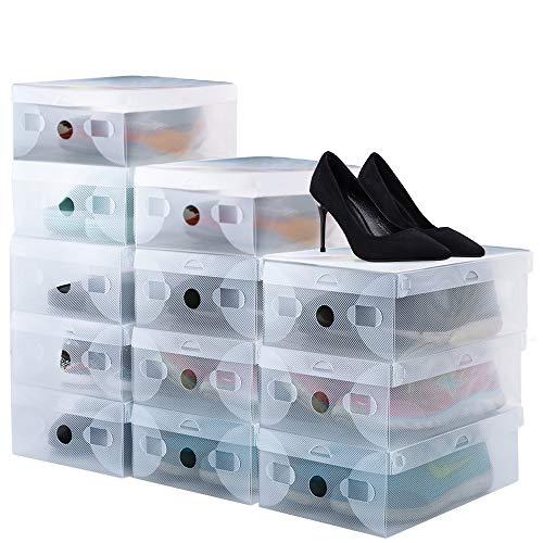 BUZIFU Schuhboxen 20 Stück Transparente Schuhkartons Faltbarer Plastik Schuhaufbewahrung Box Stapelbare Schuhboxen Schuh Organizer Boxen für Damen Herren Sportschuhe Stiefel Sandalen (28x18x 9.5cm)