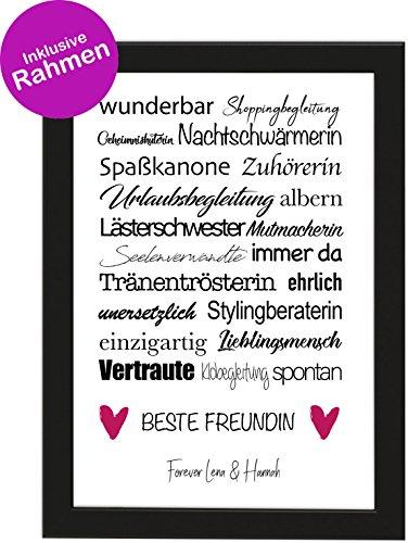 PICSonPAPER Personalisiertes Geschenk für die Beste Freundin, Poster DIN A4 wunderbar, Shoppingbegleitung, gerahmt mit schwarzem Bilderrahmen, Geburtstagsgeschenk, Freundschaft (Beste Freundin)