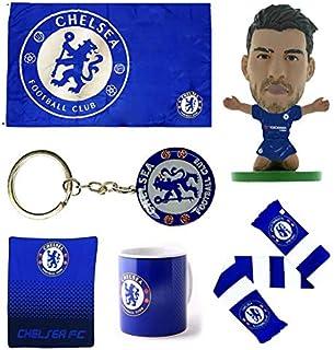 Chelsea - Premium Gift Set 6-Piece Includes Flag, Keychain, Mug, Alvaro Morata SoccerStarz, Scarf, and Fleece Blanket