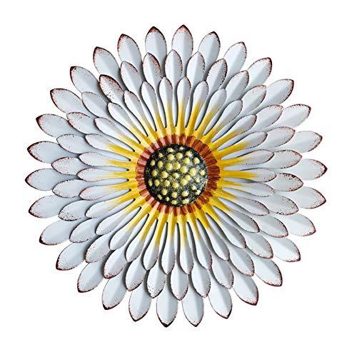 WLHER Décorations d'art Mural Fleur en Métal, Oeuvre Bohème De Décoration De Bureau/Maison, Cadeaux Faits À La Main pour La Fête des Mères À L'intérieur Ou À L'extérieur,Blanc