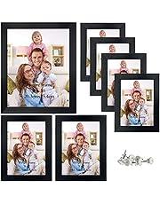 Giftgarden 7 st flera fotoramar med äkta glas för fotografier i flera storlekar, en 8 x 10, fyra 4 x 6, två 5 x 7, svart