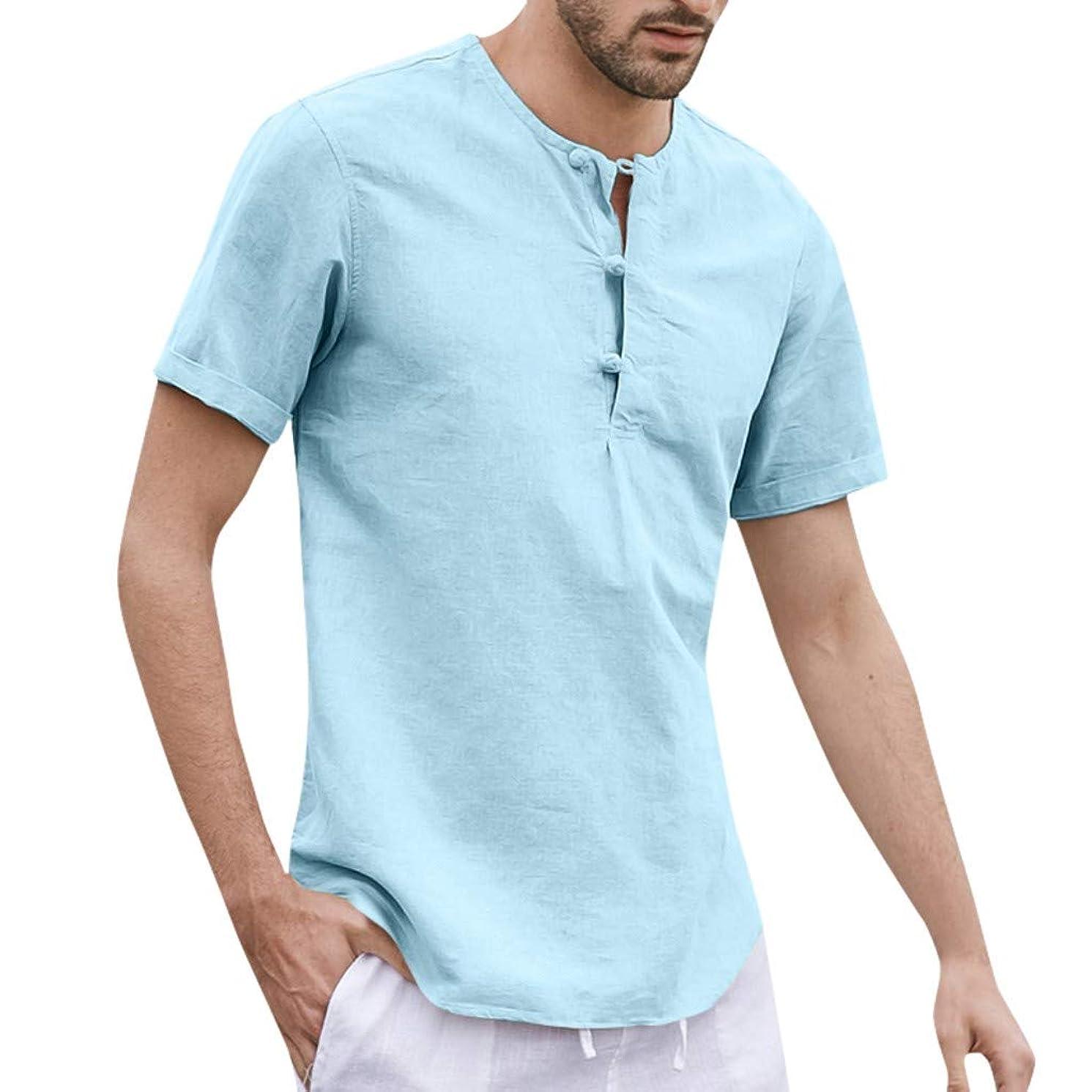 JJLIKER Mens Linen Henley Shirt Casual Short Sleeve T Shirt Pullovers Tees Retro Frog Button Cotton Shirts Beach Tops
