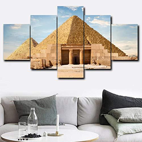 Wydlb Vintage 5 panelen muur kunstwerk piramide bezienswaardigheden poster en afdrukken canvas, schilderij voor woonkamer wooncultuur 45x60 45x90 45x120 cm geen lijst