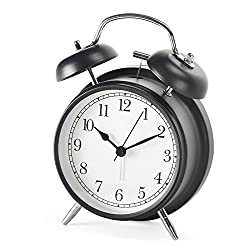 Shozafia 3 4 Classical Retro Twin Bell Alarm Clocks Mute Silent Quartz Movement Non Ticking Sweep Analog Morning Wake Up Mechanical Alarm Clock with Nightlight Backlight for Kids