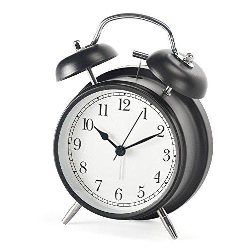 "Shozafia 3"" 4"" Classical Retro Twin Bell Alarm Clocks Mute Silent Quartz Movement Non Ticking Sweep Analog Morning Wake Up Mechanical Alarm Clock with Nightlight Backlight for Kids"