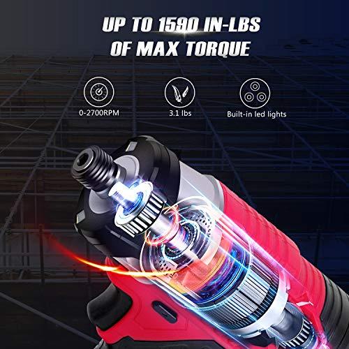 Impact Driver Kit, 1590 in-lbs 20V MAX Cordless 1/4