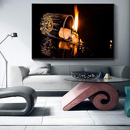 Frameloze olieverfschilderij Embelish vuur in mok moderne wooncultuur muurkunst foto's voor woonkamer Hd druk op canvas NGS Bedro