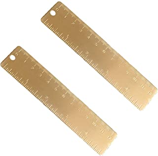 Shuxy Gold Brass Ruler Handy Straight Ruler Vintage Metal Copper Bookmark Cm Inch Dual Scale Engraved 4.75