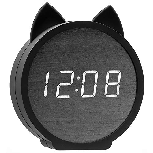 Three BY Digital Alarm Clock,3 Alarm Settings Wooden Electronic LED Display Snooze Time Temperature USB Charging with Voice Control for Bedroom,Bedside Kids,Office-Black (Cat)