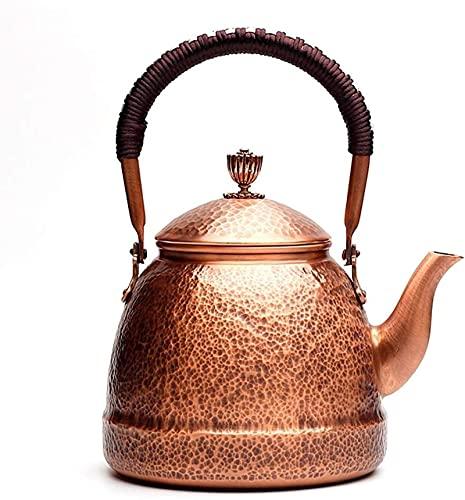 Tetera de cobre martillado de 1 mm de grosor, tetera de cobre martillado, con boquilla y mango antiescaldante para té de agua de hojas sueltas, 1,3 l (color latón)