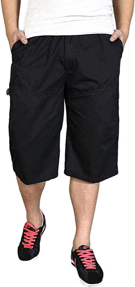 Chickle Men's Elastic Waist Loose Fit 3/4 Cargo Shorts
