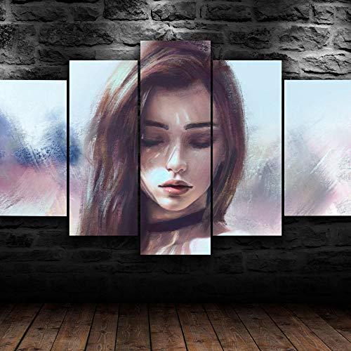 JIONGJIONG 5 Teilig Leinwand stück Kunstdruck Leinwandbild modern Wand Aufhängen Gerahmtes Dekoration Bild Abstrakt Design HD Panel Home Poster Traumfrau//150 * 80