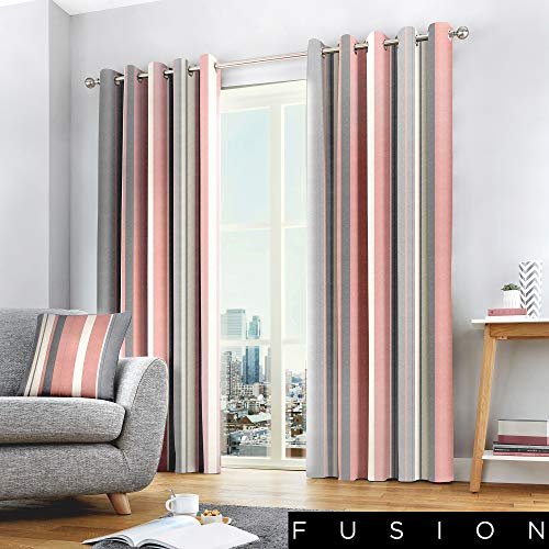 Fusion - Whitworth Stripe - 100% Cotton Pair of Eyelet Curtains - 90' Width x 90' Drop (229 x 229cm) in Blush