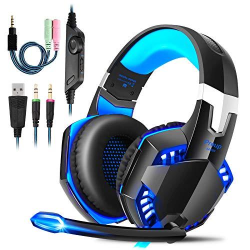 Cuffie Gaming PS4 con Microfono, ROXTAK Professionali Cuffie da Gaming, Bass Stereo, Cancellazione del Rumore e un Adattatore da 3,5 mm,per PS4/PC/Laptop/Mac/Xbox one X/Nintendo Switch