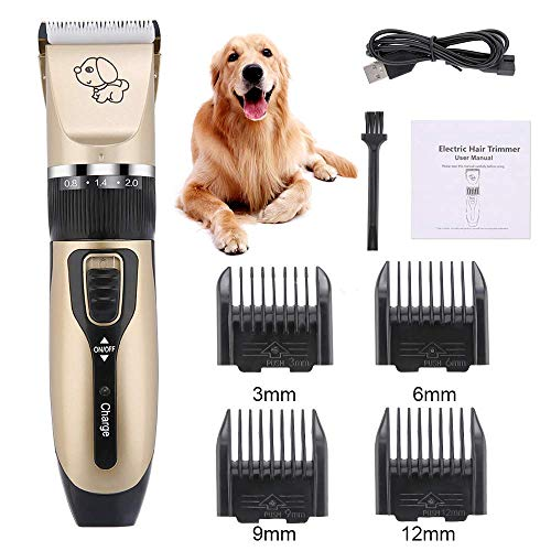 YAOUFBZ Dog Electric Clippers Cat Shaver,USB Rechargeable Cordless Dog Grooming Kit,with LED Display,Detachable Blades Washable,Electric Pets Hair Trimmers Shaver Shears