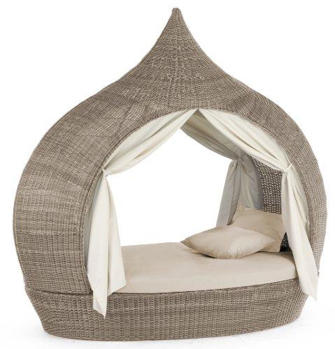Liegeinsel Eye Catcher Cubu Taupe beidseitig offen Lounge Gartenliege Liegefläche Garten Polyrattan Domus Ventures