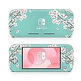 ZOOMHITSKINS Switch Lite Skin Decal Stickers, Sapphire Aquamarine Cream Sakura Petites Fleurs Japan Cherry Blossom Oriental, High Quality, Durable, Bubble-free, Goo-free, 1 Console Skin, Made in USA