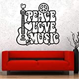 Adhesivo de pared Vinilo Música Hippie Peace Love Flower Decal 57X57Cm