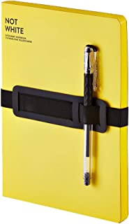 "Nuuna Not White L Light Luxury Lay Flat Recycled Leather Notebook 6.5"" x 8.5"" with Pen (Yellow)"
