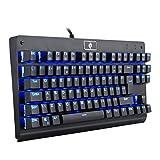 Eagletec KG040 Juego de Teclado mecánico con Teclas compacta retroiluminada LED 87, Teclados Gamers Interruptores de Color Azul Cereza para PC de la Oficina doméstica (Diseño del Reino Unido QWERTY)