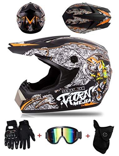 Casco de Motocross Profesional, Cascos de Cross de Moto Set con Gafas/Máscara/Guantes, Niño Motos Deportivas Off-Road Enduro Casco ATV MTB BMX Quad Cascos de Motocicleta,B,XL