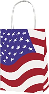Joffreg Gift Bag with Handles,American Flag Patriotic Star Design Shopping Bags,Christmas Decorations New Year Eve Festival Party Supplies,Red Blue and White,6.30