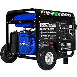 commercial DuroMax XP12000EH Electric Start Dual Fuel Generator, Blue and Black whole house generator