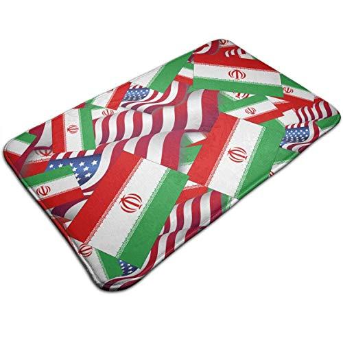 LINFENG Der Iran-Flagge mit Amerika-Flagge Indoor Outdoor Fußmatte Welcome Fußmatte Badezimmer Mats (maschinenwaschbar/Non-Slip) 23.6x15.7 Inch.