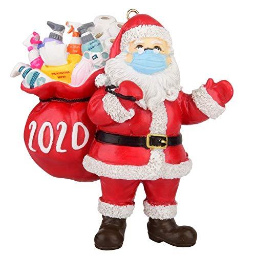 JUSTBUY 2020 Cuarentena Árbol de Navidad Decoración Regalo Personalizado Colgante Ornamento Social Distancing Santa Claus con Máscara Papel higiénico Rollo (1pc Papá Noel con Regalo)