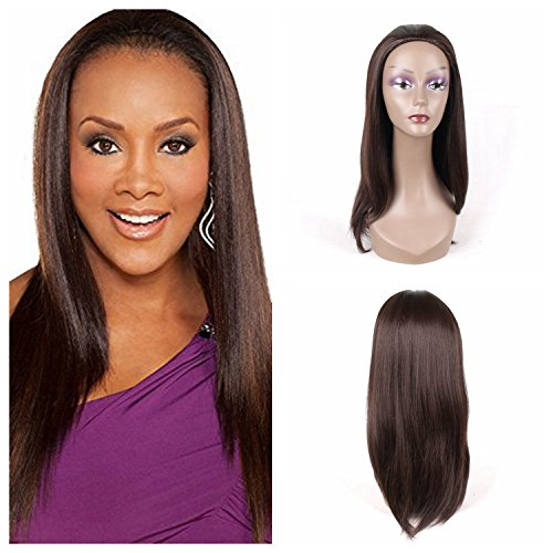 """Jiayi Half Wigs 16"""" Straight Synthetic Hair Japanese Fiber Wig with Drawstring and Combs 3/4 Head Wig for Black Women Daily Wear (4# Brown Color)"""