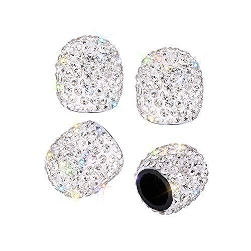 SAVORI Valve Caps, 4 Pack Handmade Crystal Rhinestone Tire Caps, Attractive Dustproof Accessories for Car (White)