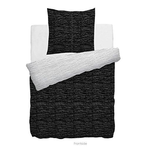 HnL Living Gradara Velvet Touch-Bettwäsche Weiß-Schwarz 135x200 + 80x80